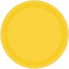 Round Sunshine Yellow Paper Dinner Plates 23cm Pack of 8