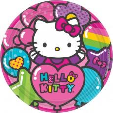Round Hello Kitty Rainbow Dinner Plates 23cm Pack of 8