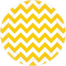 Chevron Design Sunshine Yellow Paper Dinner Plates