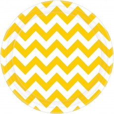 Round Sunshine Yellow Chevron Design Paper Dinner Plates 23cm Pack of 8