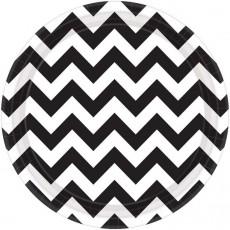 Round Jet Black Chevron Design Paper Dinner Plates 23cm Pack of 8