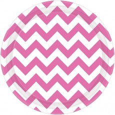 Chevron Design Bright Pink Paper Dinner Plates