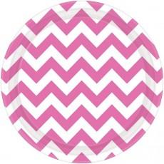 Round Bright Pink Chevron Design Paper Dinner Plates 23cm Pack of 8