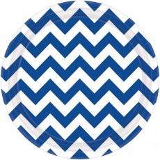 Round Bright Royal Blue Chevron Design Paper Dinner Plates 23cm Pack of 8