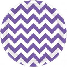 Chevron Design New Purple Paper Dinner Plates