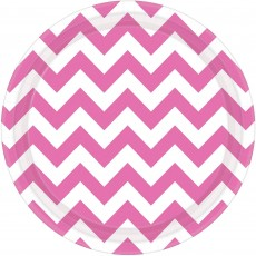 Chevron Design New Pink Paper Dinner Plates