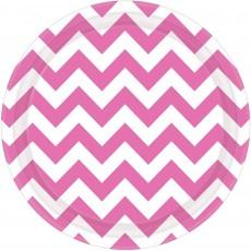 Round New Pink Chevron Design Paper Dinner Plates 23cm Pack of 8
