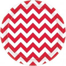 Round Apple Red Chevron Design Paper Dinner Plates 23cm Pack of 8