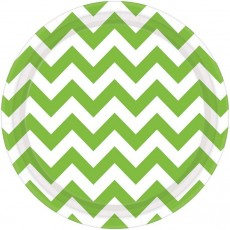 Round Kiwi Green Chevron Design Paper Dinner Plates 23cm Pack of 8