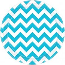 Round Caribbean Blue Chevron Design Paper Dinner Plates 23cm Pack of 8