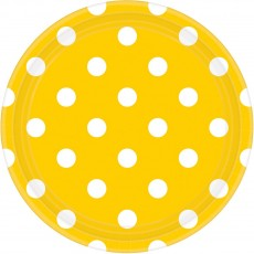 Dots Sunshine Yellow with White Dinner Plates