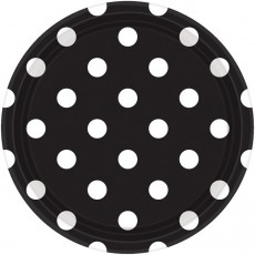 Round Jet Black with White Dots Dinner Plates 23cm Pack of 8