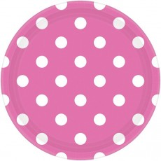 Round Bright Pink with White Dots Dinner Plates 23cm Pack of 8