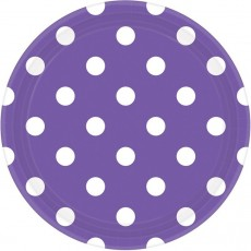 Round New Purple with White Dots Dinner Plates 23cm Pack of 8