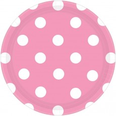 Round New Pink with White Dots Dinner Plates 23cm Pack of 8