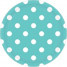 Dots Robin's Egg Blue with White Dinner Plates