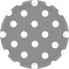 Round Silver with White Dots Dinner Plates 23cm Pack of 8