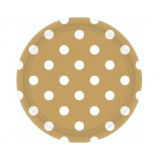 Dots Gold with White Dinner Plates