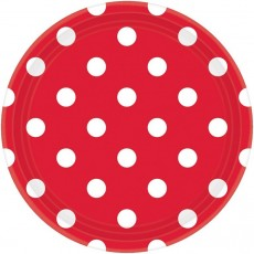Round Apple Red with White Dots Dinner Plates 23cm Pack of 8