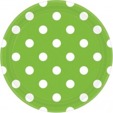 Round Kiwi Green with White Dots Dinner Plates 23cm Pack of 8