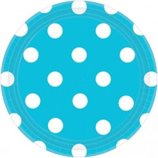 Round Caribbean Blue with White Dots Dinner Plates 23cm Pack of 8