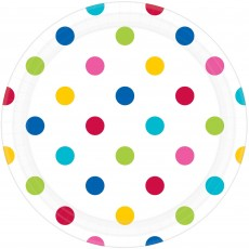 Dots White with Rainbow Dinner Plates
