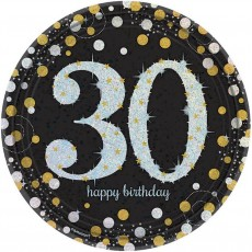 30th Birthday Black, Gold & Silver Sparkling Celebration Prismatic Dinner Plates