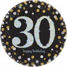 Round Black, Gold & Silver 30th Birthday Sparkling Celebration Prismatic Dinner Plates 23cm Pack of 8