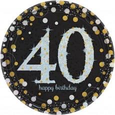 Round Black, Gold & Silver 40th Birthday Sparkling Celebration Prismatic Dinner Plates 23cm Pack of 8