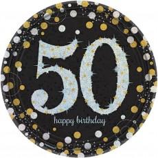 Round 50th Birthday Sparkling Celebration Prismatic Dinner Plates 23cm Pack of 8
