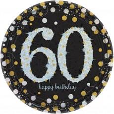 60th Birthday Black, Gold & Silver Sparkling Dinner Plates