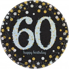 Round Black, Gold & Silver 60th Birthday Sparkling Celebration Prismatic Dinner Plates 23cm Pack of 8