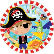 Round Pirate's Treasure Little Pirate Dinner Plates 23cm Pack of 8