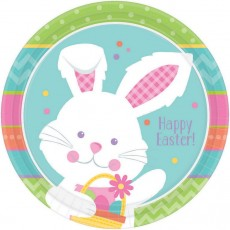 Round Hippity Hop Happy Easter! Dinner Plates 23cm Pack of 8
