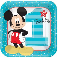 Square Mickey Mouse 1st Birthday Fun To Be One Dinner Plates 23cm Pack of 8