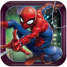 Square Spider-Man Webbed Wonder Dinner Plates 23cm Pack of 8