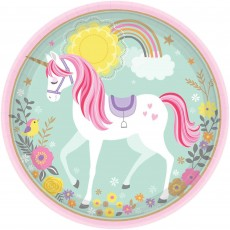 Round Magical Unicorn Dinner Plates 23cm Pack of 8