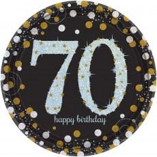 Round 70th Birthday Sparkling Celebration Prismatic i Dinner Plates 23cm Pack of 8
