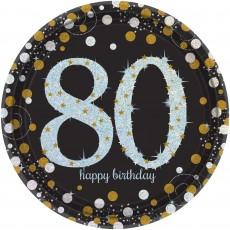 80th Birthday Sparkling Celebration Prismatic i Dinner Plates