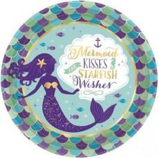 Round Mermaid Wishes Metallic Mermaid kisses starfish wishes Dinner Plates 23cm Pack of 8