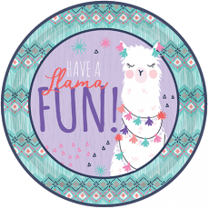 Round Llama Fun Lunch Plates 23cm Pack of 8