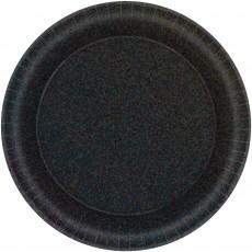 Round Black Prismatic Dinner Plates 21cm Pack of 8