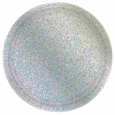 Round Silver Prismatic Dinner Plates 23cm Pack of 8