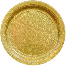Gold Party Supplies - Dinner Plates Prismatic Gold