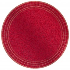 Round Apple Red Prismatic Dinner Plates 23cm Pack of 8