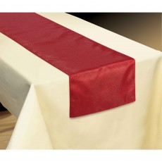 Red Luxury Metallic Fabric Table Runner