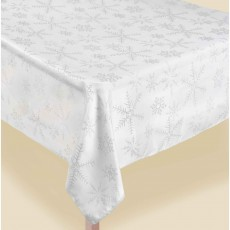 Christmas Snowflakes White Luxury Metallic Fabric Table Cover