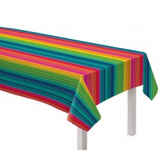 Mexican Fiesta Serape Striped Flannel Backed Vinyl Table Cover