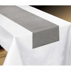 Silver Pewter Luxury Metallic Fabric Table Runner