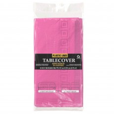 Pink Bright Plastic Lined Table Cover